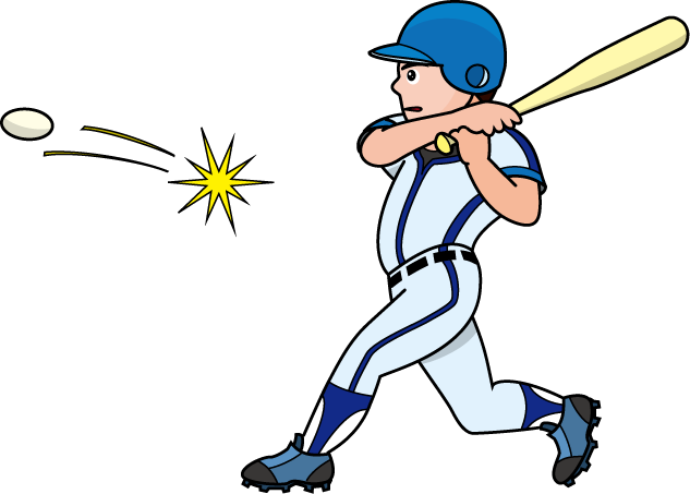 Baseball hit clipart.