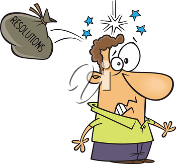 Royalty Free Clipart Image of a Man Hit on the Head by His.