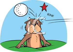 A Gopher Getting Hit on the Head With a Golf Ball.