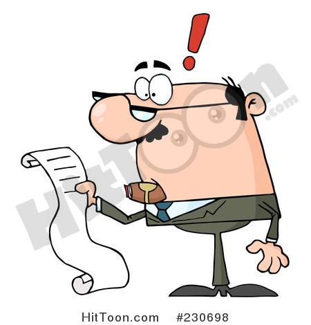 Businessman Clipart #230698: Caucasian Businessman Reading a Long.