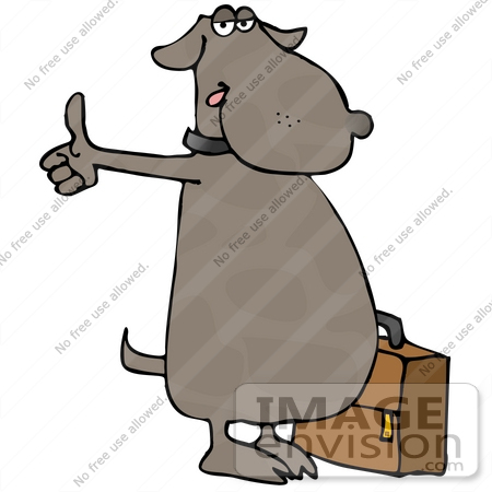 Brown Dog With Suitcase, Hitching a Ride Clipart.