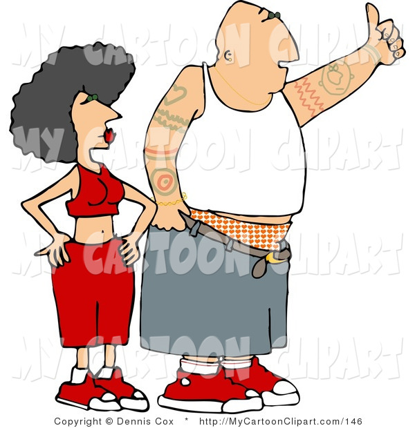 Clip Art of a Gangster Man and Woman Trying to Hitch a Ride by.