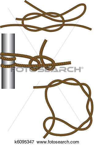 Clip Art of Sea knot: reef, round turn and half hitches and timber.