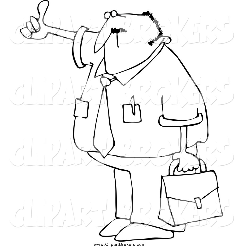 Clip Art Cartoon of a Black and White Hitchhiking Businessman by.