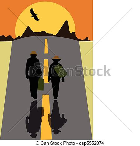 EPS Vector of hitchhikers walk along the road.
