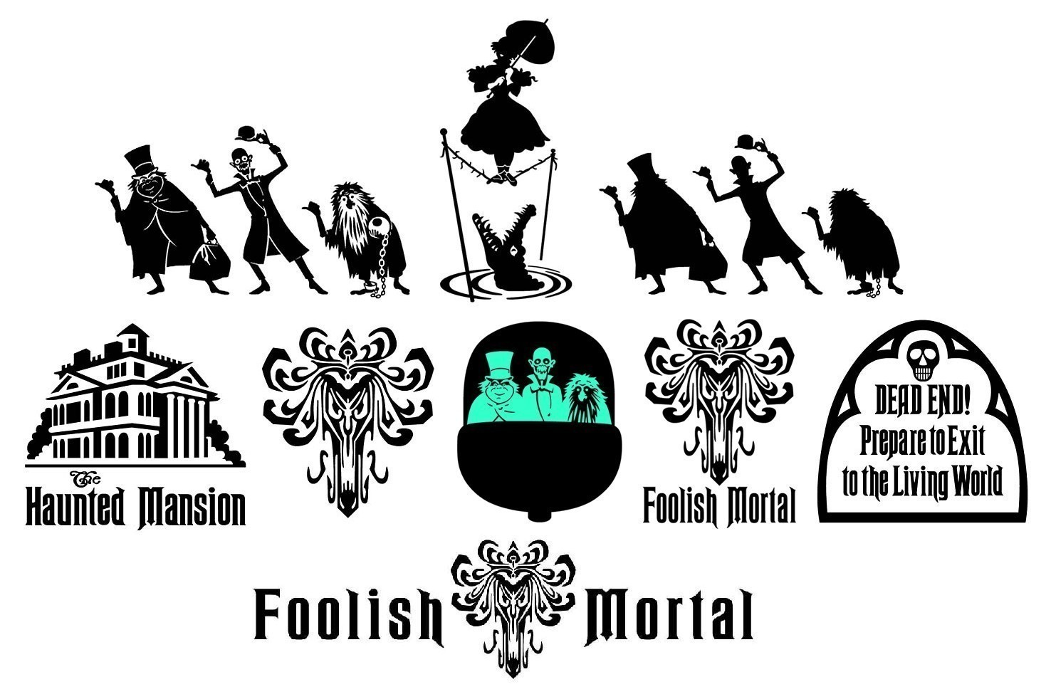 The Haunted Mansion vinyl decals Hitchhiking Ghosts plus.