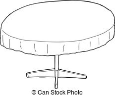 Clipart table black and white.