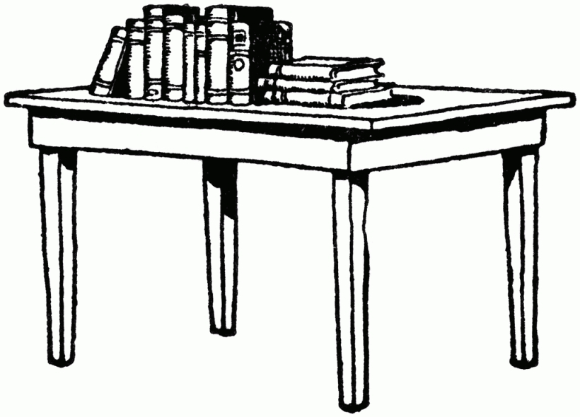 Black and white table clipart.