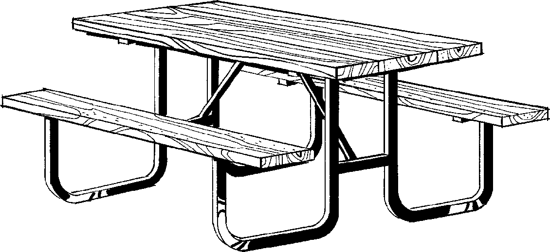 Picnic table clipart black and white.