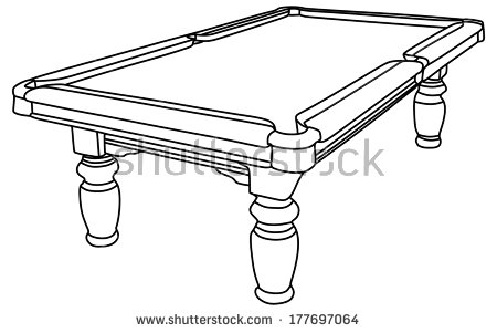 Pool table clipart black and white.