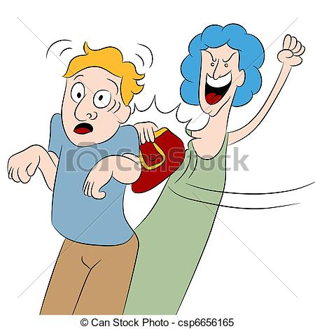 Clipart Vector of Angry Woman Hits Man With Her Purse.