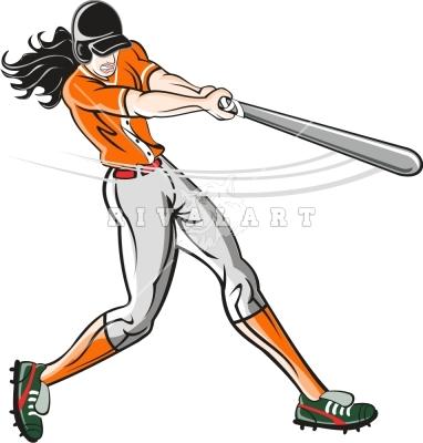 Softball hitter clipart.