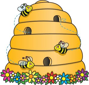 Bee And The Hive Clipart.
