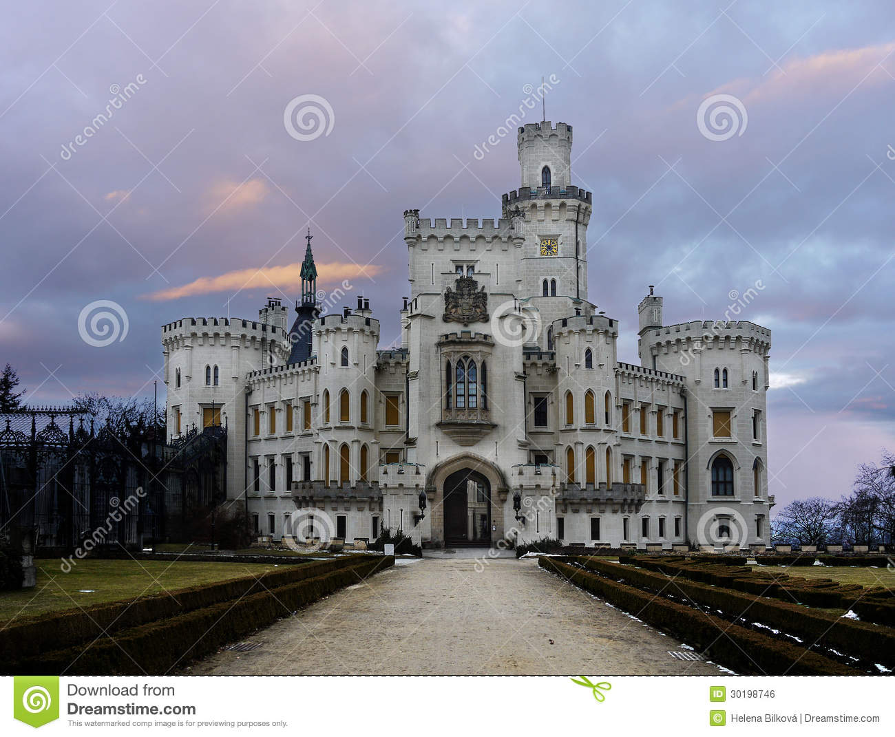 Castle Hluboka Landmark Fairytale Exterior Stock Photography.