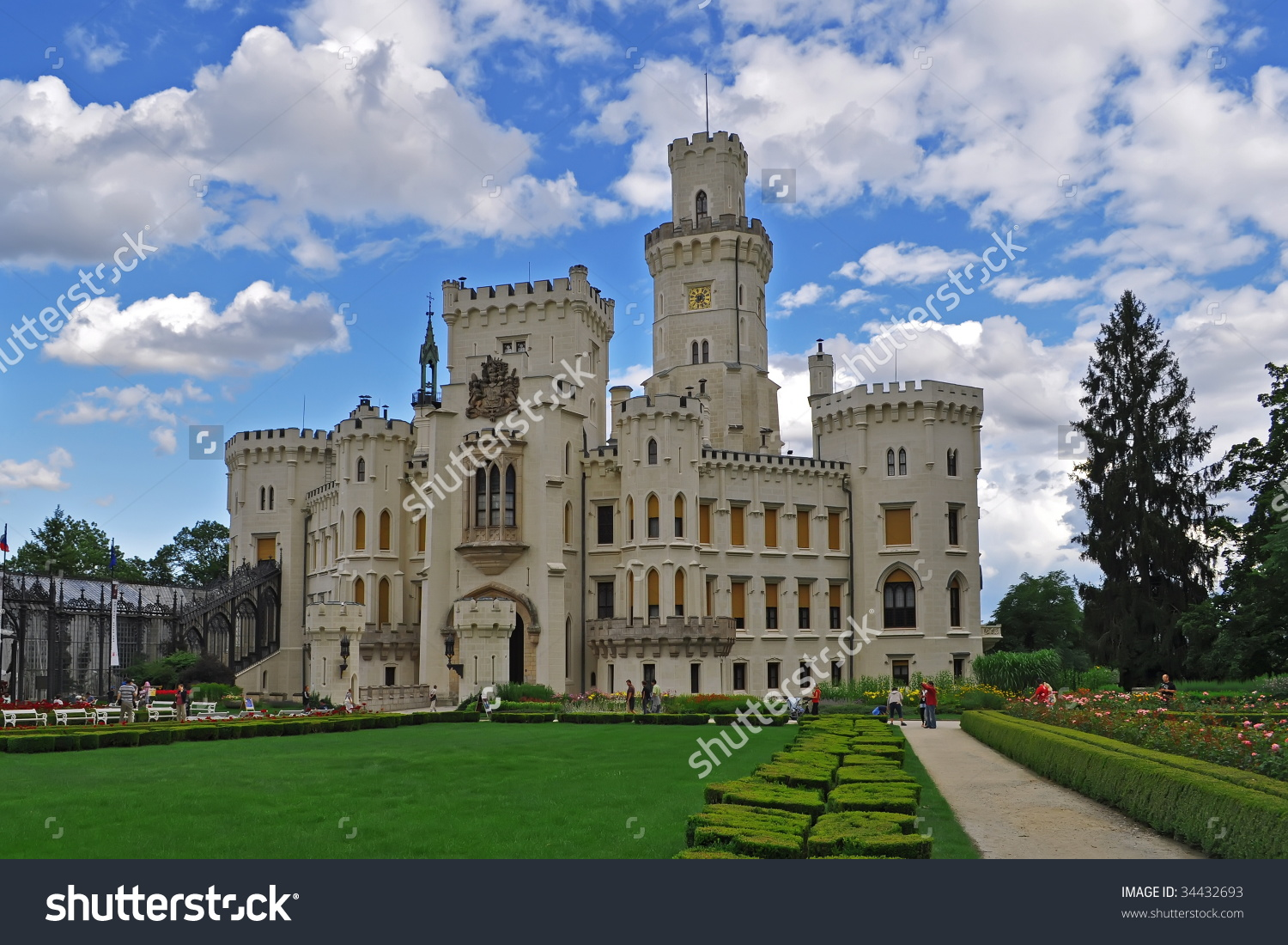 Beautiful Castle Hluboka In Czech Republic Stock Photo 34432693.