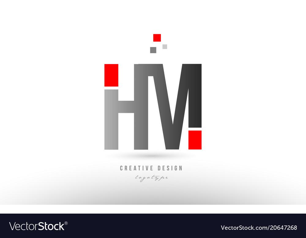 Red grey alphabet letter hm h m logo combination.