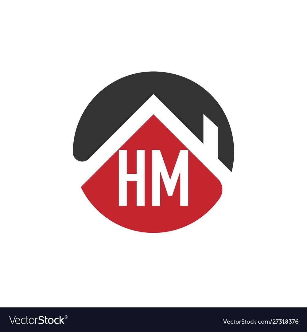 Initial letter hm building logo design template.