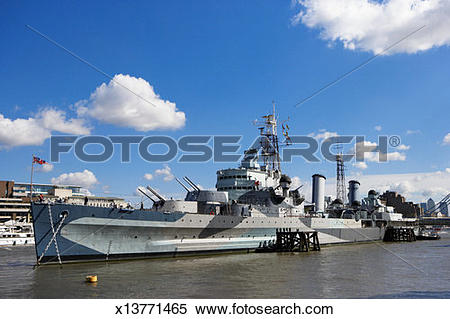 Stock Image of England, London, HMS Belfast on River Thames.