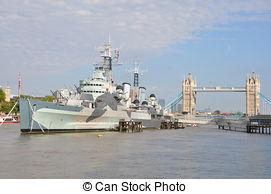 Stock Photography of HMS Belfast (C35) London.