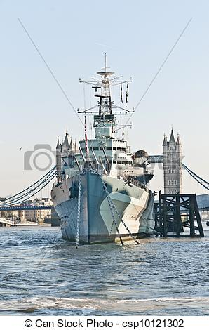 Stock Photography of HMS Belfast warship at London, England.
