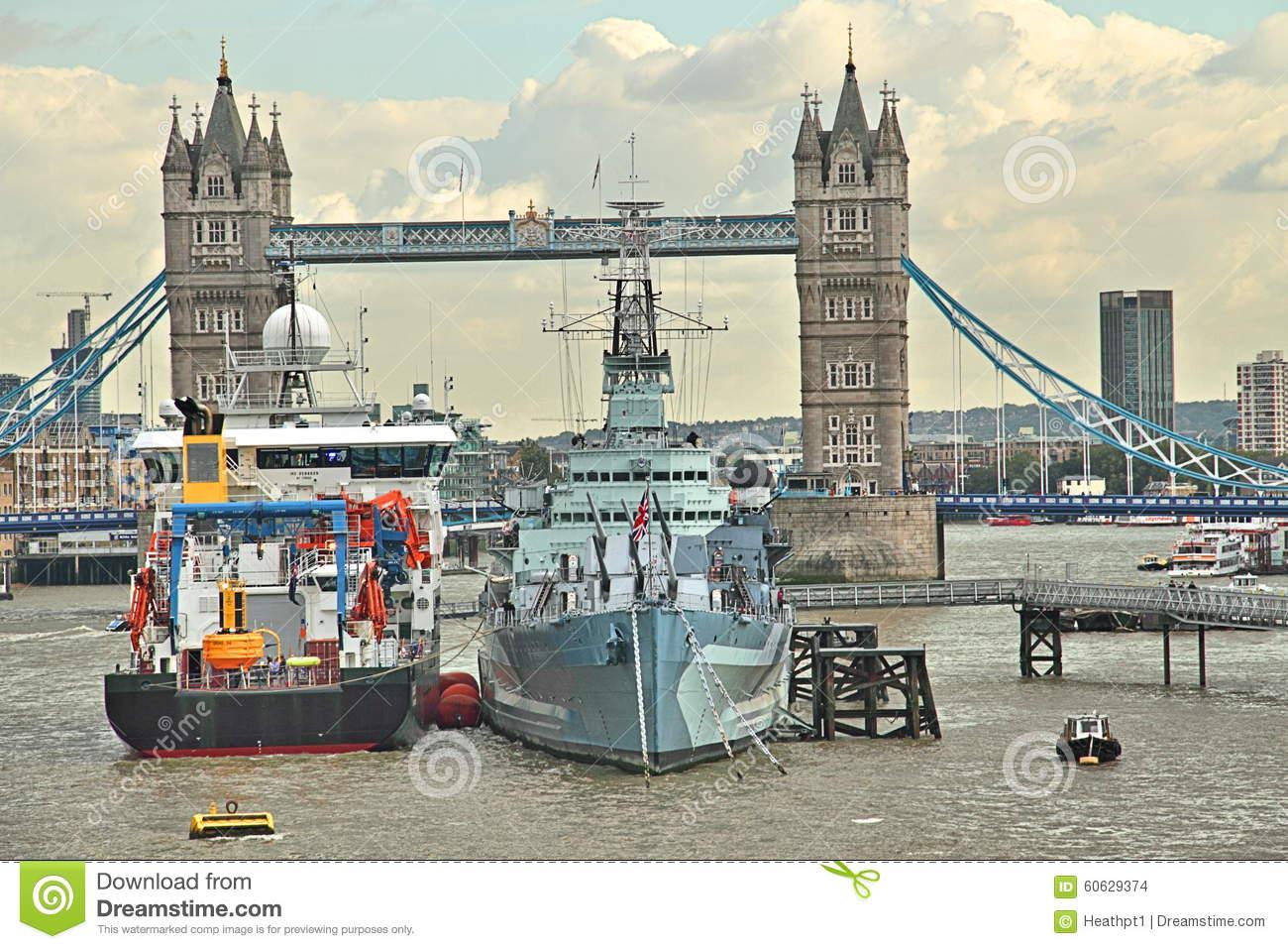 HMS Belfast Ship Near Tower Bridge, London Royalty Free Stock.