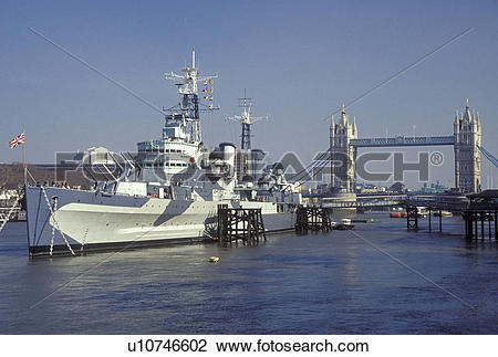 Stock Photo of HMS Belfast, London, England, Great Britain, United.