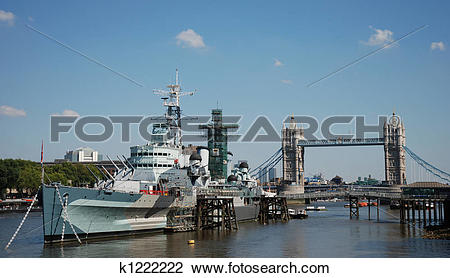 Stock Photo of HMS Belfast and River Thames k1222222.