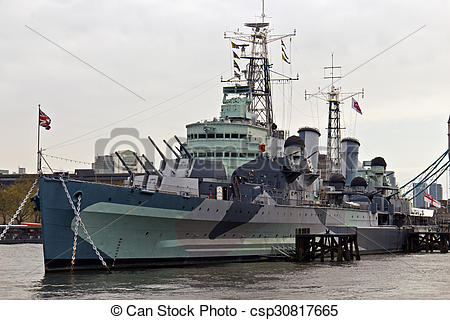 Stock Image of HMS Belfast (C35) a Royal Navy light cruiser on the.