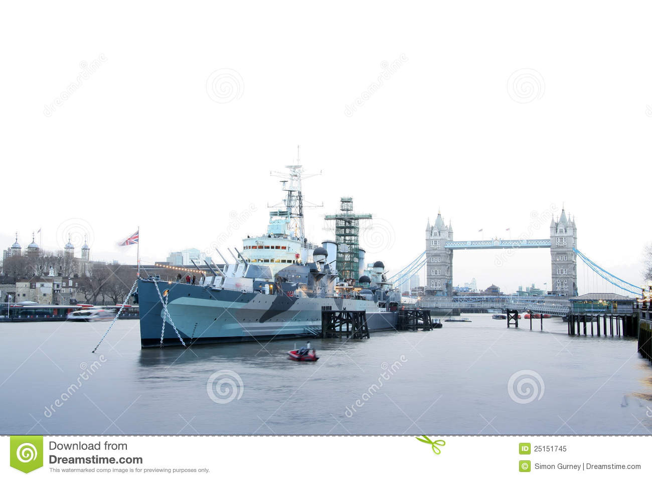 HMS Belfast Moored On The River Thames In London. Royalty Free.