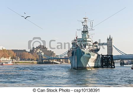 Stock Photographs of HMS Belfast warship at London, England.
