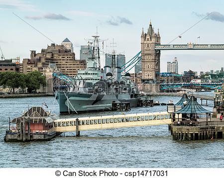 Stock Photos of HMS Belfast anchored near Tower Bridge csp14717031.