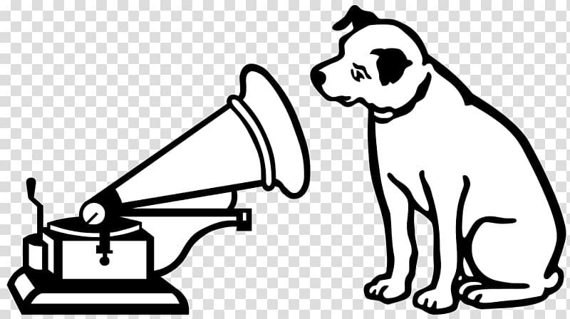 Dog beside gramophone illujstration, HMV Logo Dog.