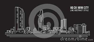 Cityscape Building Line Art Vector Illustration Design.