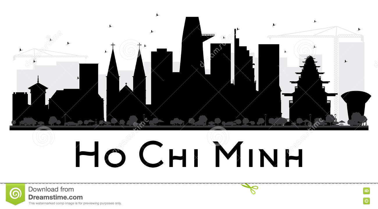 Ho Chi Minh City Skyline Black And White Silhouette. Stock Vector.