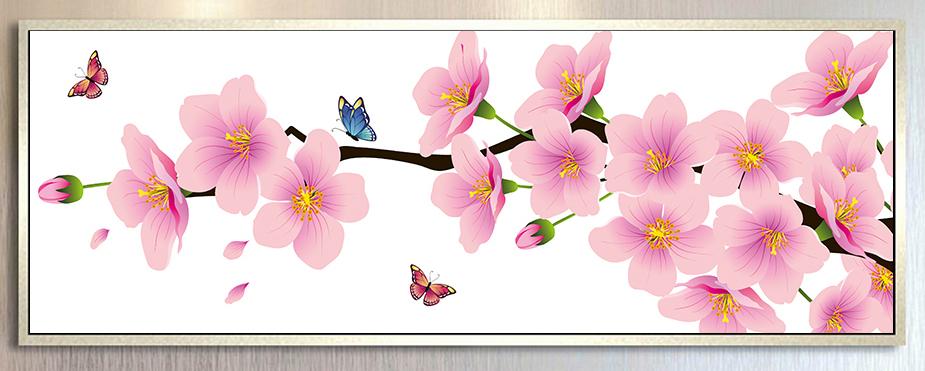 Tranh hoa đào 1 tấm.