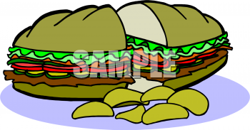 Clipart Picture of a Hoagie and Chips.