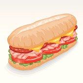 Sub Sandwich Clip Art, Vector Sub Sandwich.