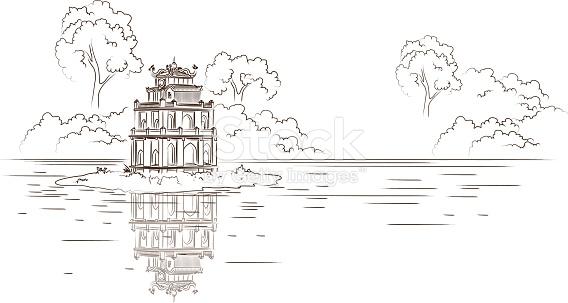 Hoan Kiem Lake In Hanoi Capital City Of Vietnam stock vector art.