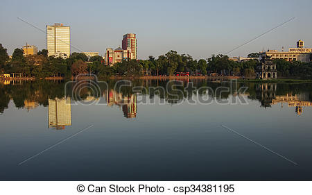 Stock Photographs of HoanKiem Lake, the little lake in t.