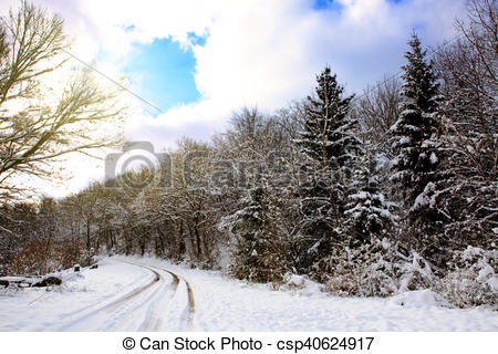 Clipart of White winter landscape in Germany ..