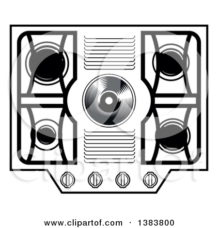 Clipart of a Black and White Kitchen Stove Hob Cook Top.