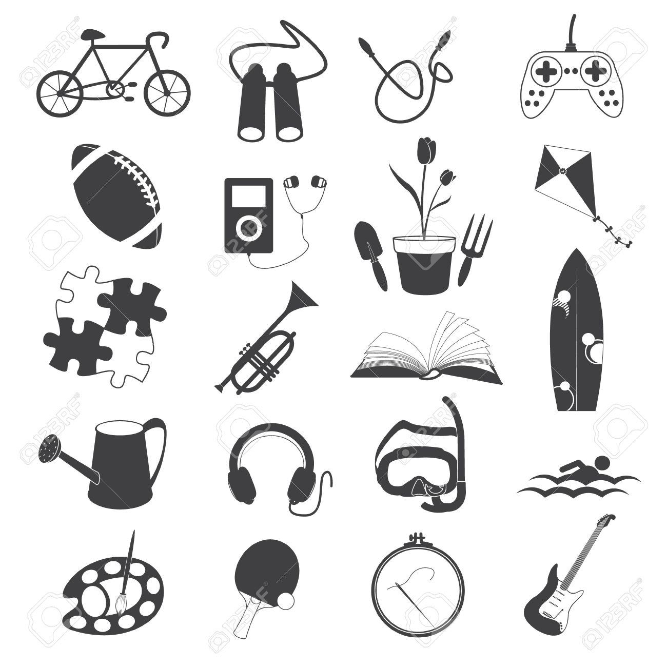 Hobby Icons Isolated on White Background.