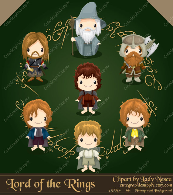 Lord of the Rings inspired clipart, hobbit clipart, elf clipart.