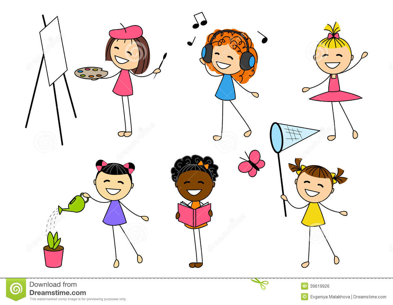 Set Of Little Girls With Different Hobby Stock Vector.