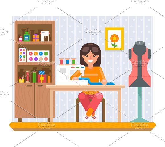 Sewing Hobby ~ Illustrations on Creative Market.