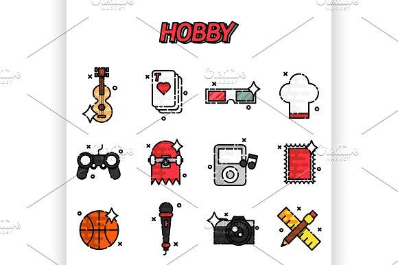 Hobby flat icons set ~ Illustrations on Creative Market.