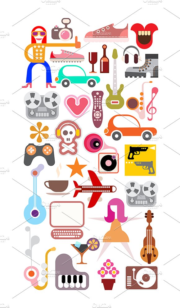 Leisure and Hobby Collage ~ Illustrations on Creative Market.