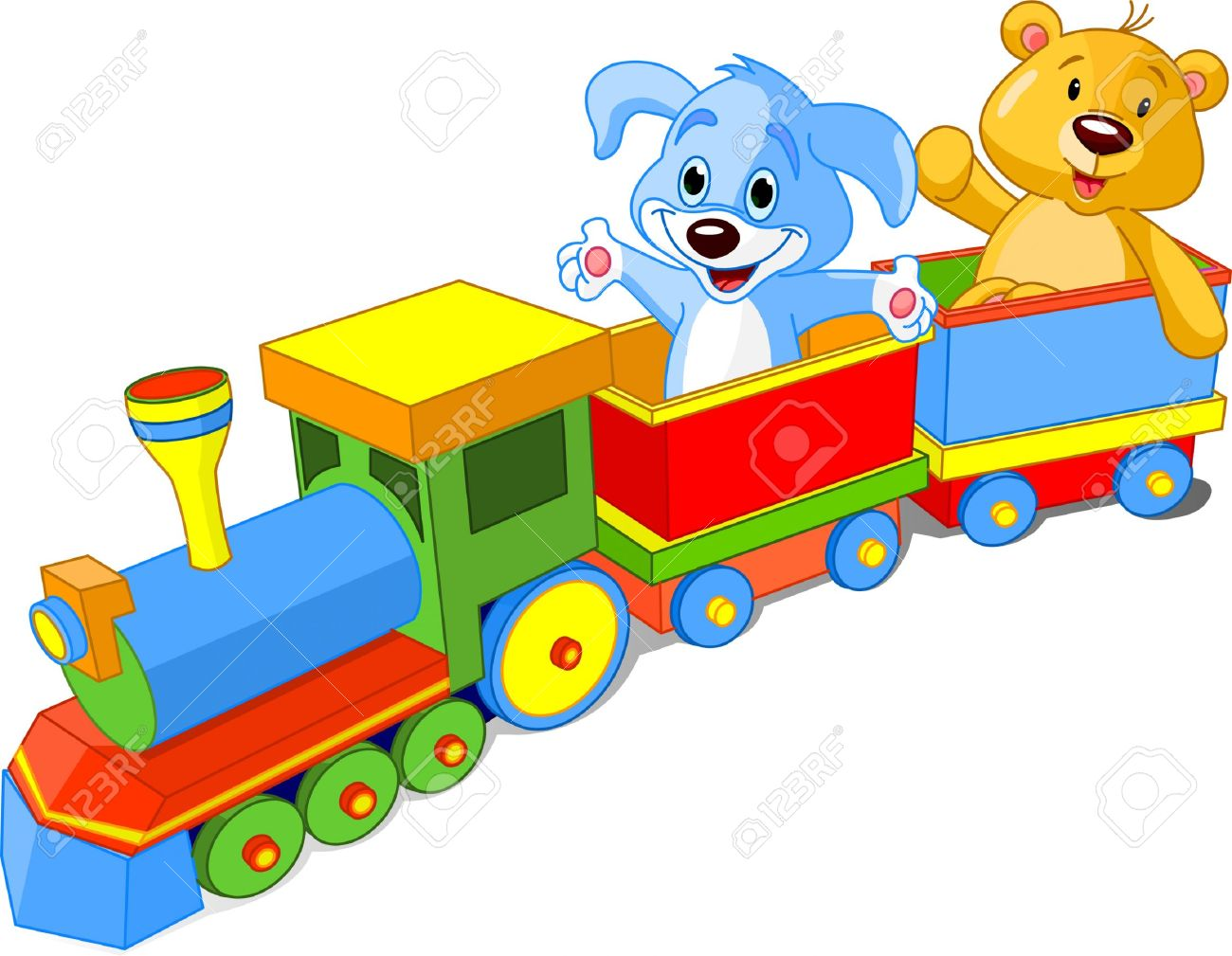 Toy Train. Dog And Teddy Sitting In Car And Waiving Hello. Royalty.