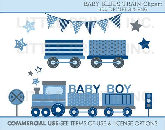 Baby Blue Choo Choo Train Clipart INSTANT by LittlePrintsParties.