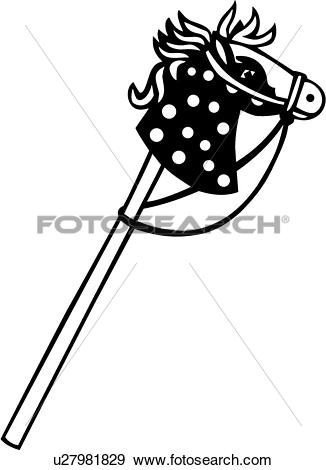 Clip Art of , baby, baby toy, hobby horse, toy, u27981829.